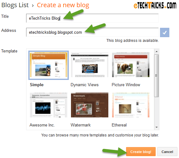 create free blog on blogger